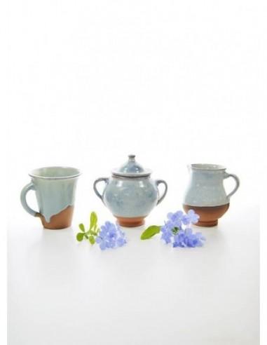 Ceramic cup, milk jug and sugar bowl...